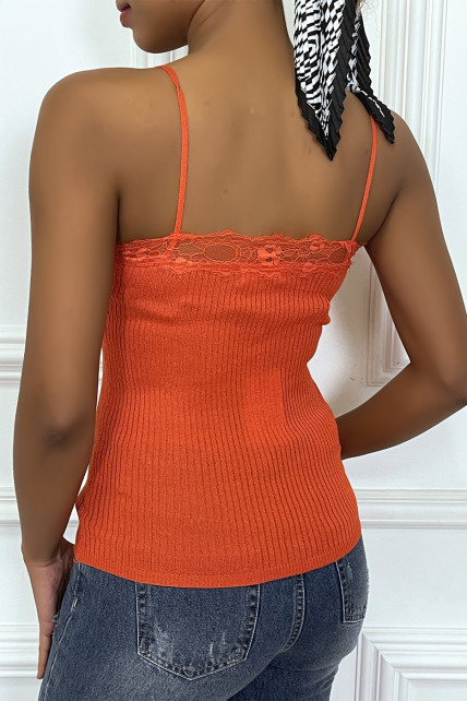 Debardeur cotelé orange detail dentelle