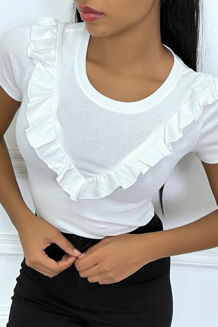 T-shirt blanc col rond à détail volants en V