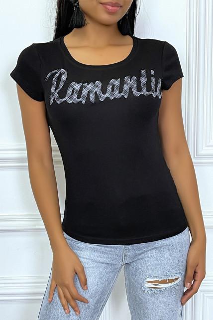 """T-shirt noir à col rond et inscription """"Romantic"""""""