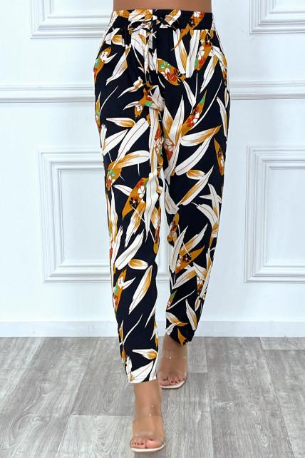 Pantalon fluide marine avec poches et motif feuille très tendance