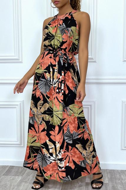 Robe longue d'été noire fleurie, à col rond