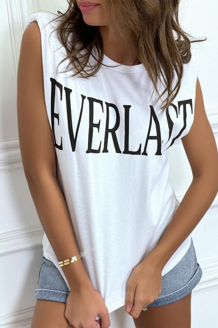 """Tee-shirt sans manches blanc avec épaulettes, écriture """"everlast"""""""