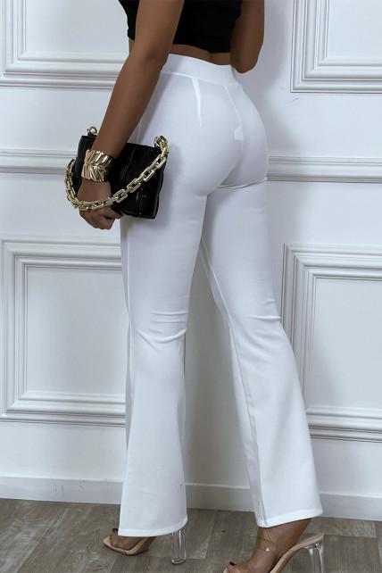 Pantalon flare stretch blanc