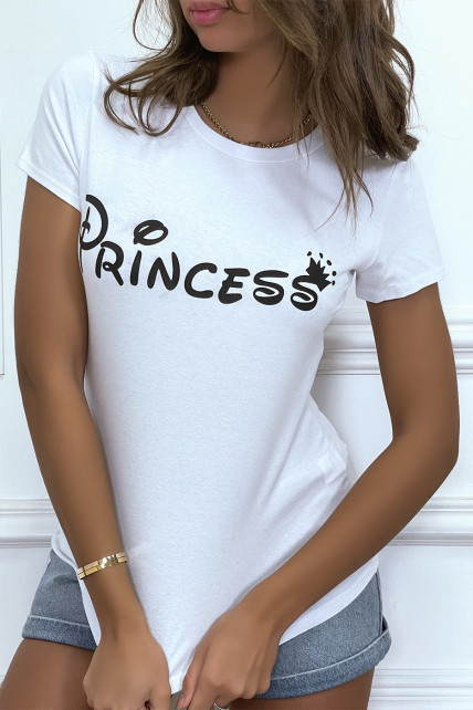 """T-shirt blanc à col rond, manches courtes, écriture """"princess"""""""