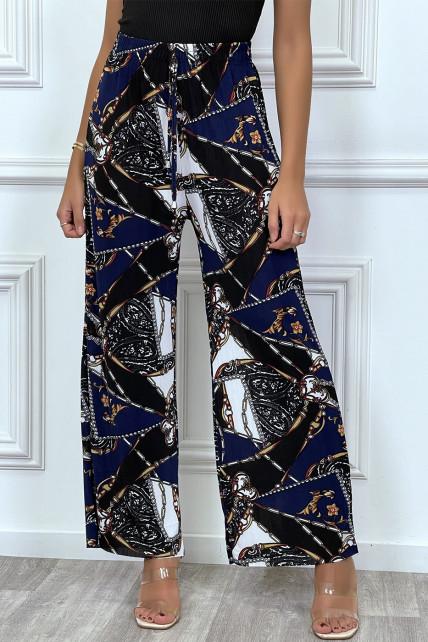 Pantalon fluide marine à imprimé baroque