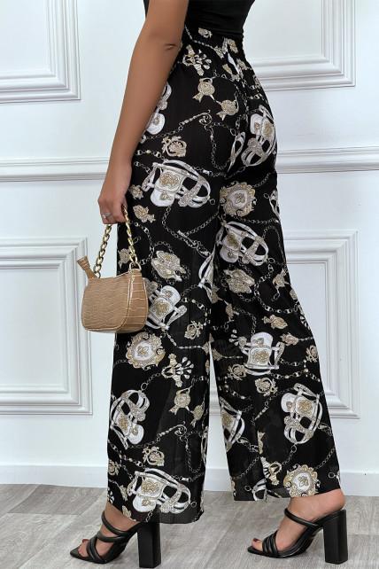 Pantalon fluide noir hyper confortable motif baroque