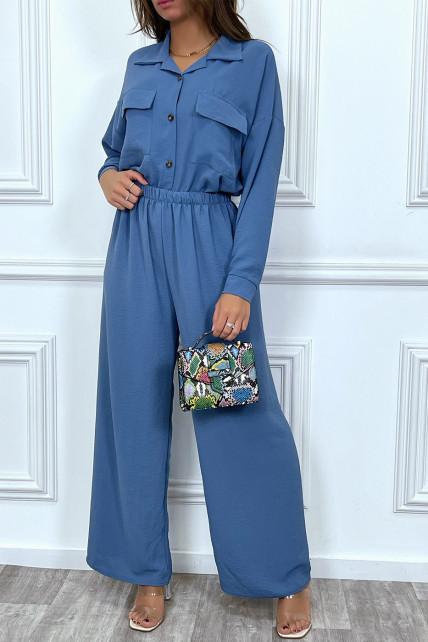 Ensemble pantalon et chemise avec poche bleu tendance