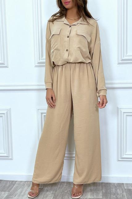 Ensemble pantalon et chemise avec poche beige tendance