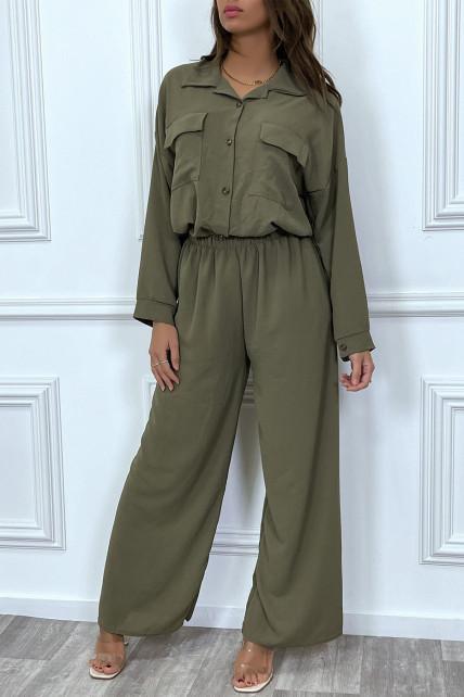 Ensemble pantalon et chemise avec poche kaki tendance