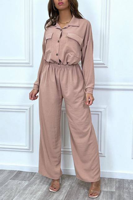 Ensemble pantalon et chemise avec poche rose tendance