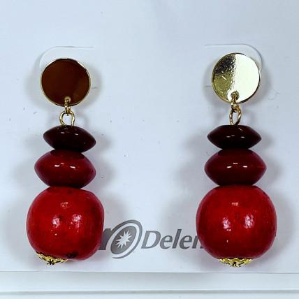 Boucles d'oreiles en perles de bois rouge