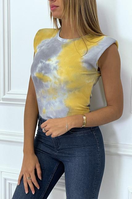 Body jaune côtelé imprimé tie & dye à épaulettes