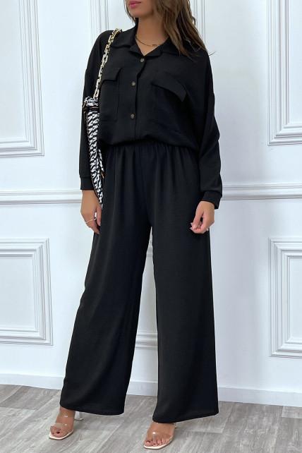 Ensemble pantalon et chemise avec poche noir tendance