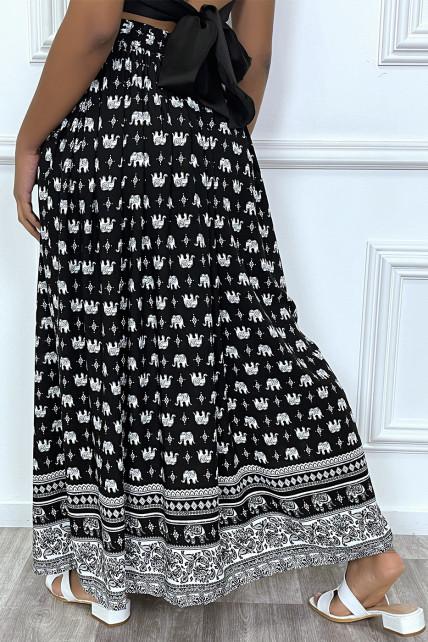 Jupe longue noir et blanc imprimé elephant