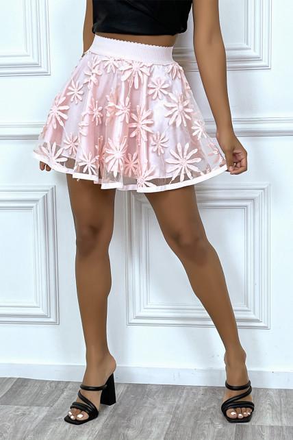 Petite jupe patineuse rose brodé