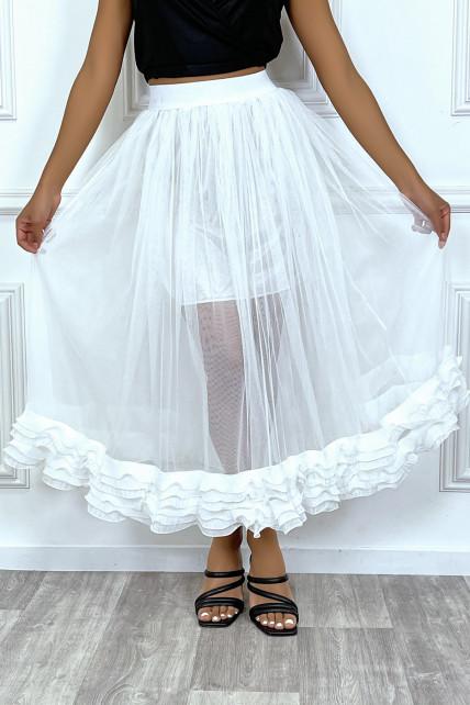 Jupe blanche en tulle doublé avec froufrou plissée