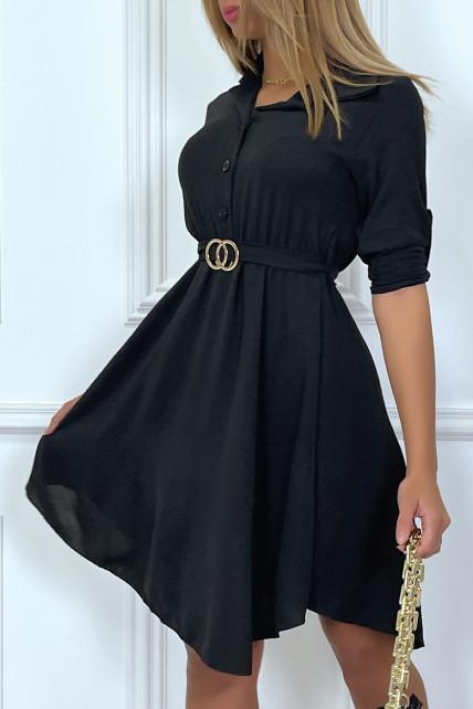 Robe chemise noir avec ceinture boucle