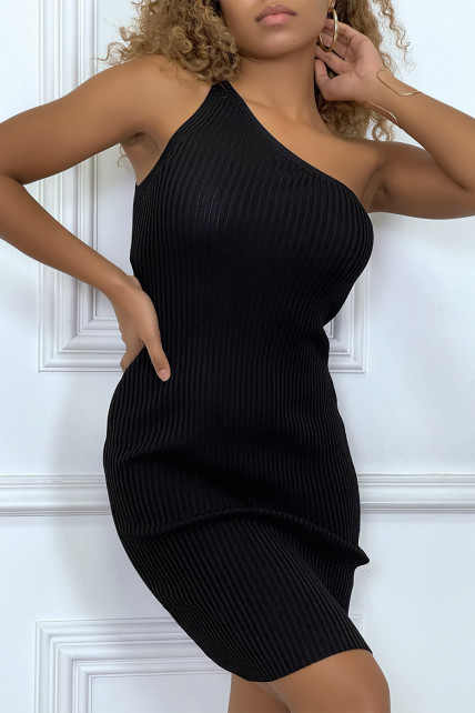 Robe tendance, courte asymétrique noire