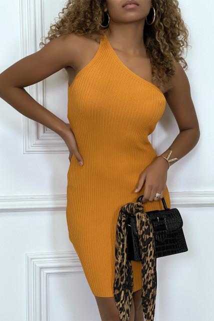Robe tendance, courte asymétrique orange