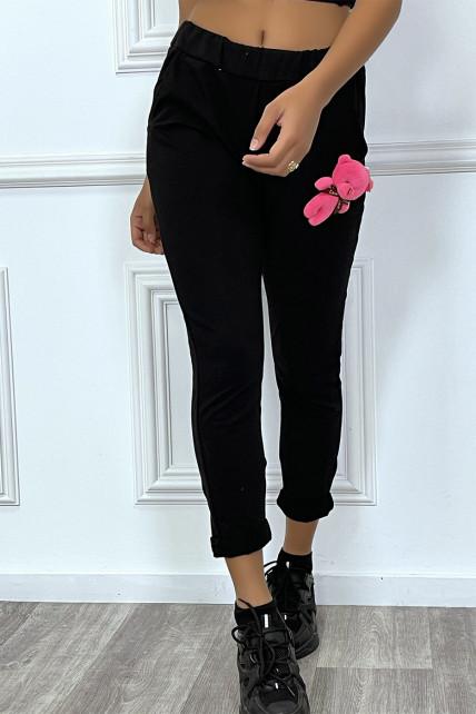 Jogging noir à doudou et poches