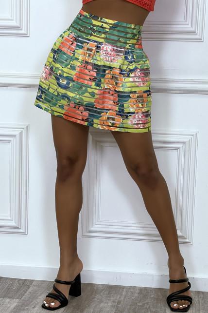 Mini jupe bouffante jaune à fleurs