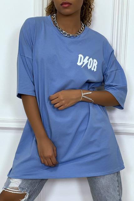 """Tee-shirt oversize turquoise tendance, écriture """"D/or"""", manche mi-longue"""