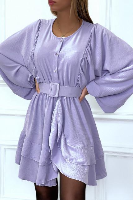 Robe chemise lila avec volant et manches large