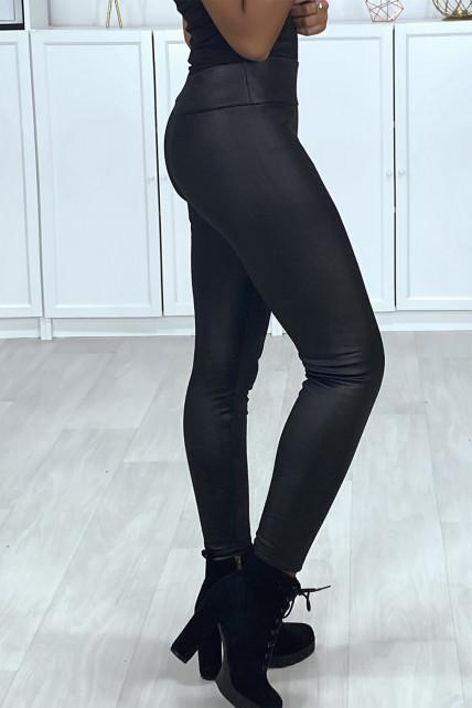 Legging noir effet brillant molletonné à l'intérieur