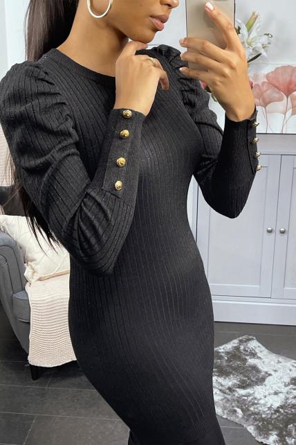 Robe pull noir cotelé à manches bouffantes