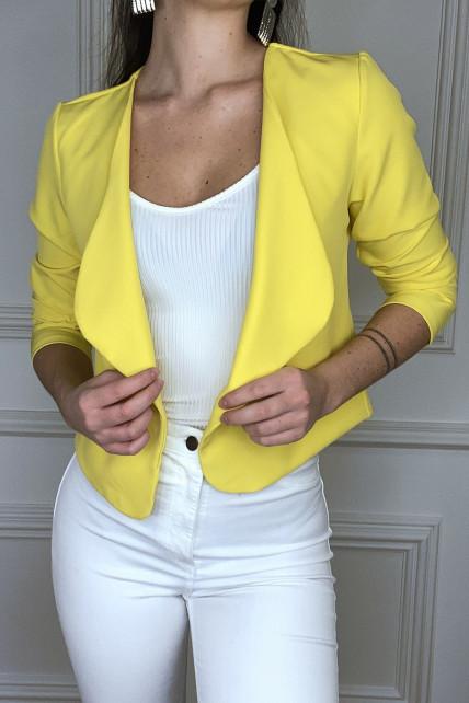 Blazer en jaune très chic avec col revers