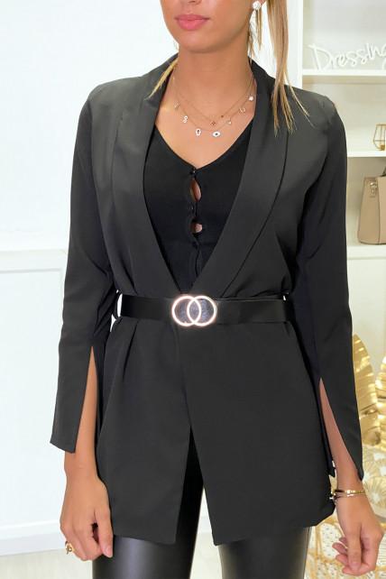 Veste blazer noir ouvert aux manches avec ceinture