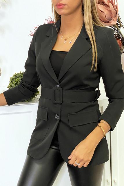 Blazer noir avec ceinture et poches