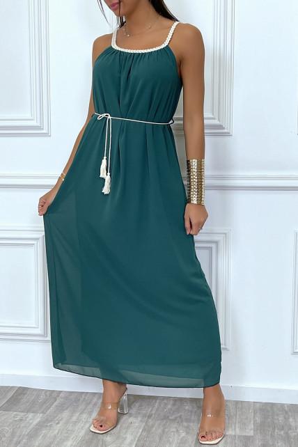 Robe longue vert sapin style bohème