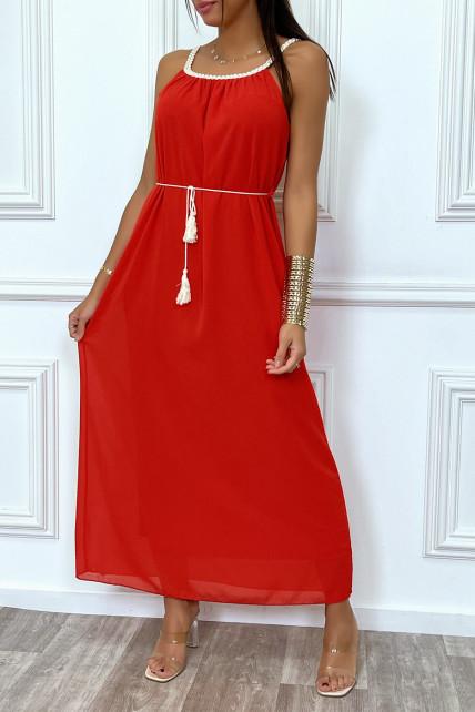 Robe longue rouge style bohème