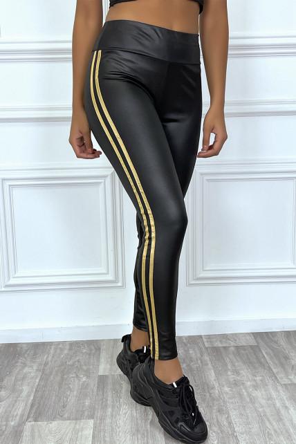 Legging noir en simili avec bande dorée sur les côtés