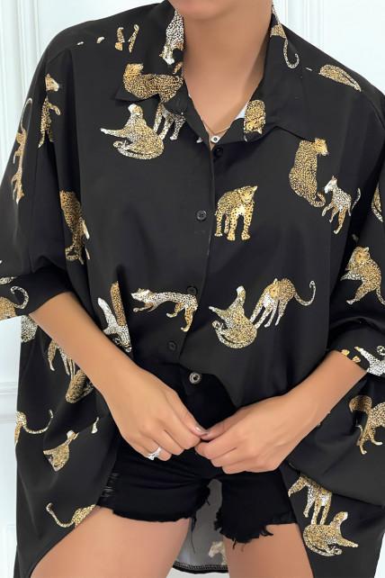 Chemise noire longue à l'arrière, imprimés léopard avec manches amples