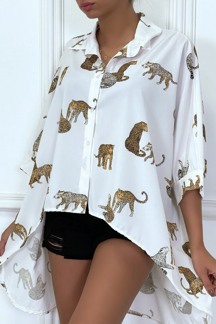 Chemise blanche longue à l'arrière, imprimés léopard avec manches amples