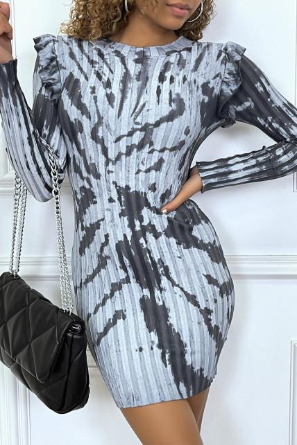 Robe tie and dye gris à manches longues avec volants aux épaules