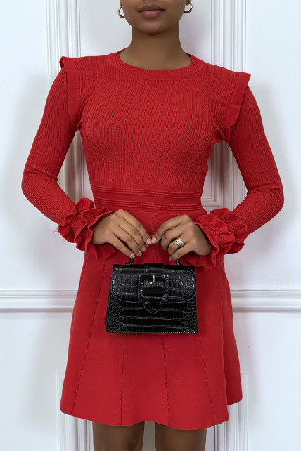 Robe rouge patineuse en maille