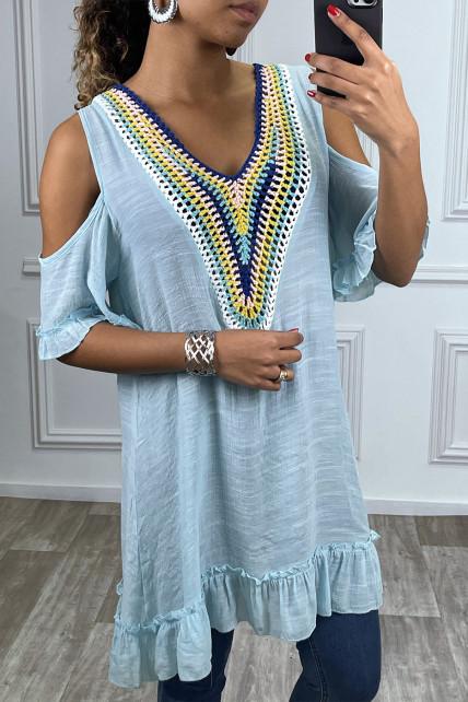 Robe tunique evasé turquoise avec details brodé multicolor