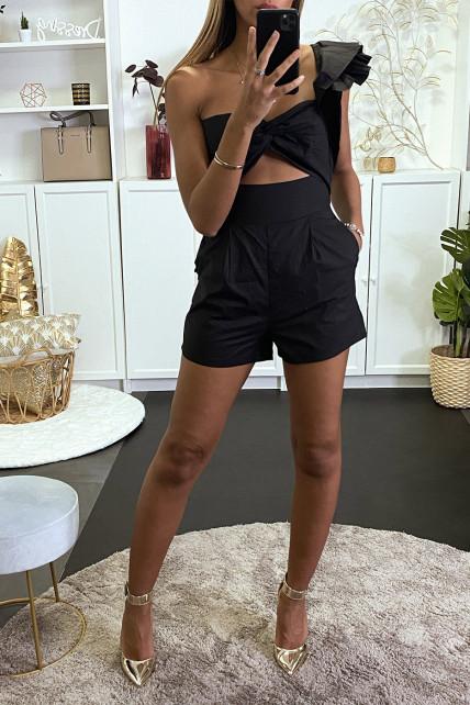 Combi-short noir à manche asymétrique