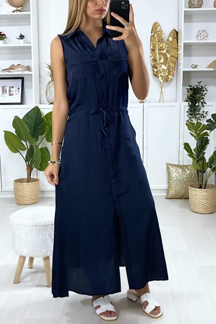 Longue robe boutonné en marine avec col chemise et poches saharienne
