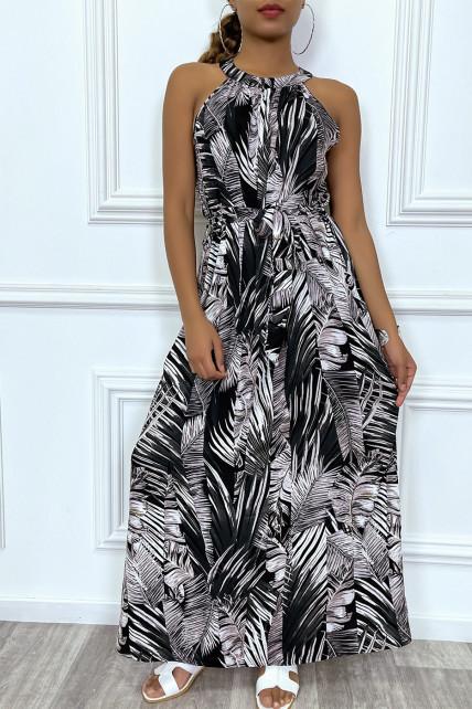 Robe longue à col rond et imprimé tropical noir