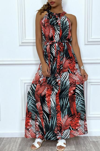 Robe longue à col rond et imprimé tropical rouge