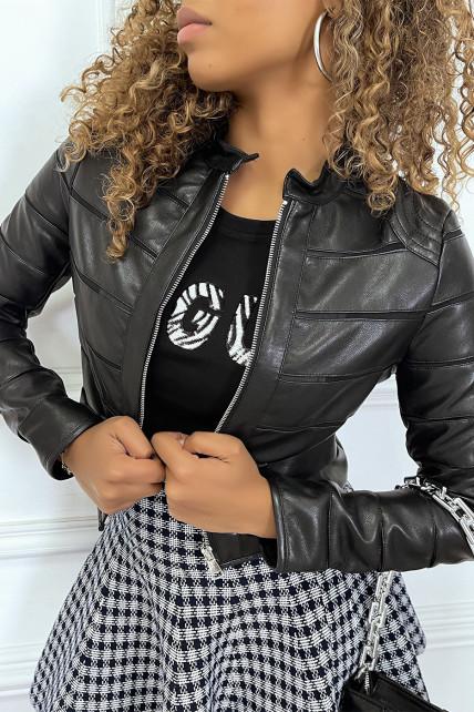 Veste en similicuir noir avec bandes