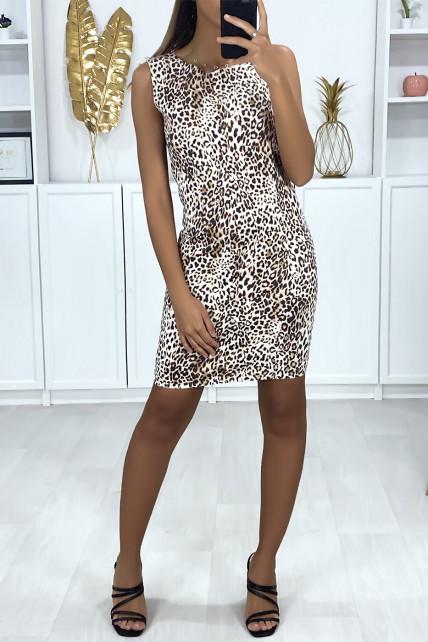 Robe motif léopard taupe avec fermeture au dos