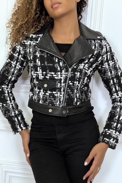 Veste en simili-cuir et en laine noir à col retourné