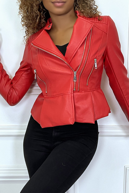 Veste simili-cuir rouge à col rond