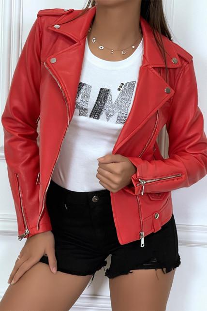 Veste en simili cuir rouge avec col revers