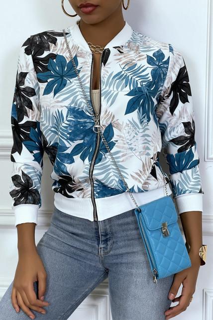 Veste fluide turquoise/blanc et  légère à zip et motif feuille
